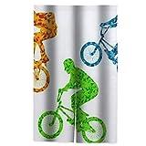 JISMUCI Cortinas,Ciclistas Extremos Jinetes En Bicicleta Concepto Adolescente Activo,Decoración del hogar para Cocina,Sala de Estar