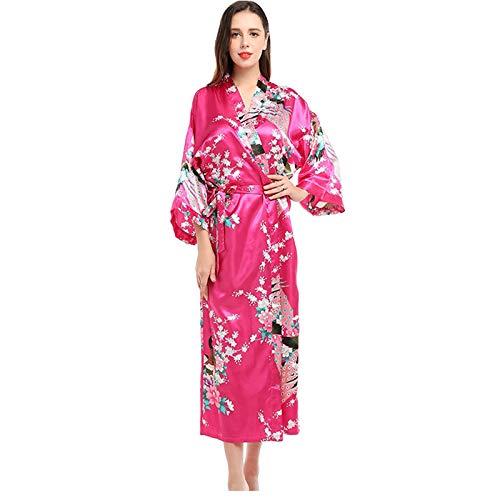 Kimono para mujer, bata de seda con cuello en V, ropa de dormir suelta con impresión de bata de baño ligera para mujer 003-M