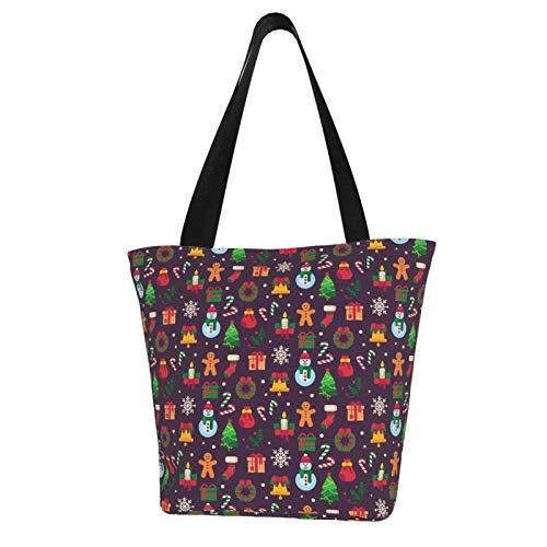 Weihnachtssymbole Weihnachtsbaum Frauen Mode Casual Canvas Tote Bag Shopping Handtasche Einkaufstasche Einkaufstasche