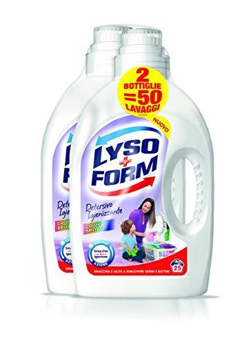 Lysoform Detersivo Igienizzante per Bucato, Colori Brillanti 25 Lavaggi x2