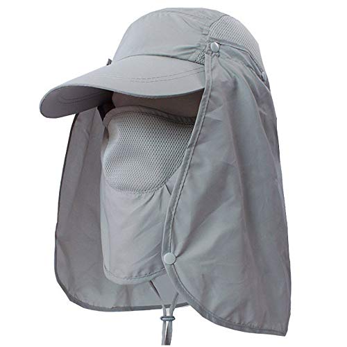 Sun Cap With Face Neck Cover Flap Outdoor Removable UV Protect Fishing Hat