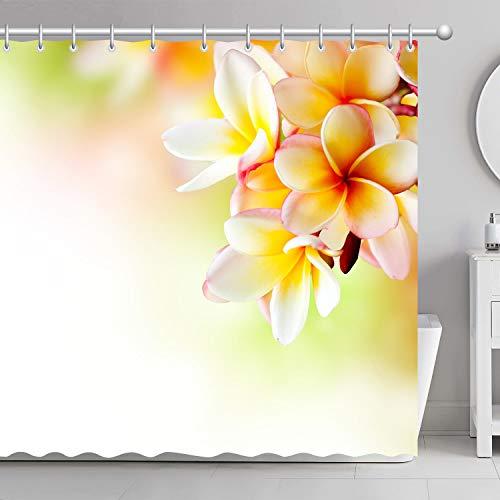 FamyFirst Dickes Duschvorhang Hochauflösender Druck Textil Antischimmel 180 x 200 cm Blumen Plumeria Spp Frangipani Blumen Blühen Weiß Gelb Rosa