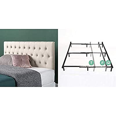 Zinus Trina Upholstered Modern Classic Tufted Headboard in Taupe, Full & Michelle Compack Adjustable Steel Bed Frame for… - Product 1: ELEGANCE FOR YOUR EXISTING BED FRAME - Redefine the look of your bedroom without buying an entirely new bed; this classic button tufted headboard adds softness and refinement to your existing bed frame Product 1: EASY ASSEMBLY WITH ADJUSTABLE HEIGHT - All tools and instructions are included; height of the headboard can be customized to 3 different levels by choosing one of the predrilled sets of holes in the back of the headboard upon setup Product 1: FITS STANDARD SIZED FRAMES - Two available sizes fit any standard-sized queen or full bed frame; hardware for attachment is included - bedroom-furniture, bedroom, bed-frames - 41pg4Kni5pL. SS400  -
