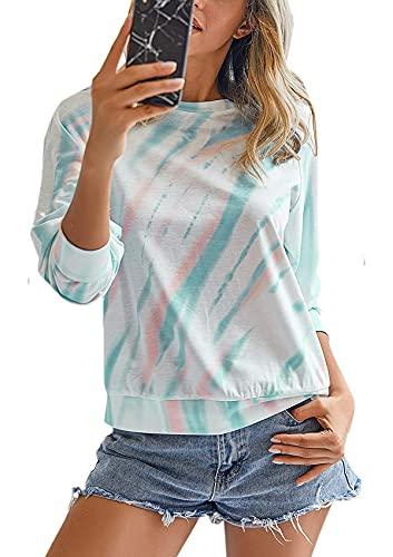 Damen Langarmpullover mit Rundhalsausschnitt und Batikmuster Buntes T-Shirt Lässige Bluse Grün XL