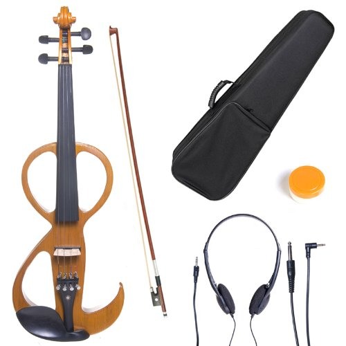 Cecilio CEVN-3Y Style 3 Silent Electric Solid Wood Violin with Ebony Fittings in Metallic Yellow Maple, Size 4/4 (Full Size)