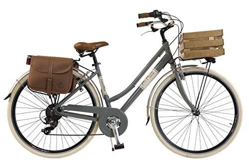 Via Veneto by Canellini Damen Citybike CTB Vintage Stil Rad Cityrad Fahrrader Bike Aluminium mit Korb Kassette (Grau, 46)