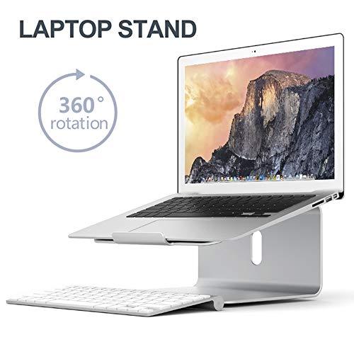 LOVEHOUGE Soporte portátil de aluminio para ordenador portátil, compatible con portátiles de 11 a 17 pulgadas, soporta hasta 10 kg, plateado