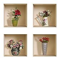 The Nisha Art Magic 3DビニールリムーバブルウォールステッカーデカールDIY、4個セット、赤とピンクのバラ(ロマンチックセット)417-UK