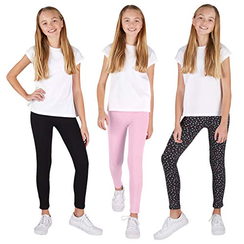 Lee 3 Pack Leggings for Girls   A Stylish Mix of Solid Color or Prints, Super Soft Pull on Leggings for All Day Comfort   Size 10