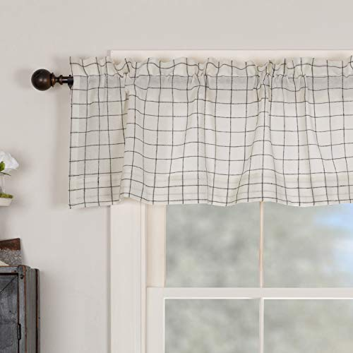 "Springhouse Semi Sheer Valance Curtain, Black & Antique White, 72"" W x 16"" L, Primitive, Vintage, Farmhouse, Lightweight, Kitchen or Bath, Windowpane Check"