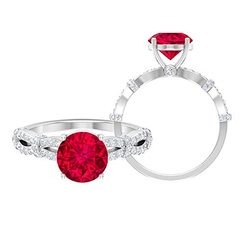 Anillo de compromiso relleno de vidrio rubí, piedras preciosas redondas de 2,76 quilates, anillo solitario D-VSSI de 8 mm, anillo de vástago espiral de oro, 14K Oro blanco, Size:EU 56
