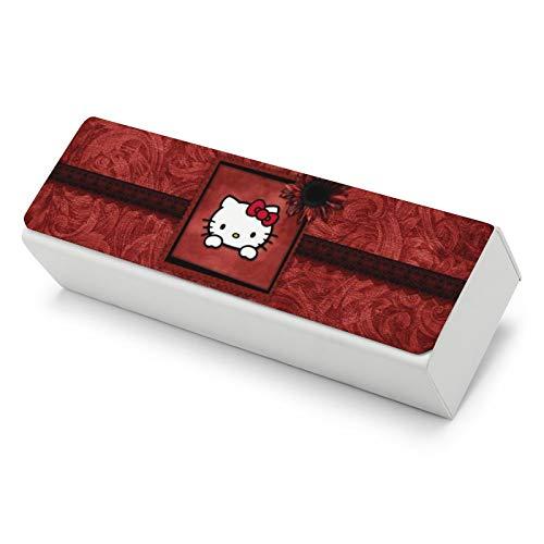Hello Kitty - Funda rígida de piel para gafas para hombre y mujer, pequeña y fácil de llevar con una gran capacidad para almacenar todo tipo de gafas