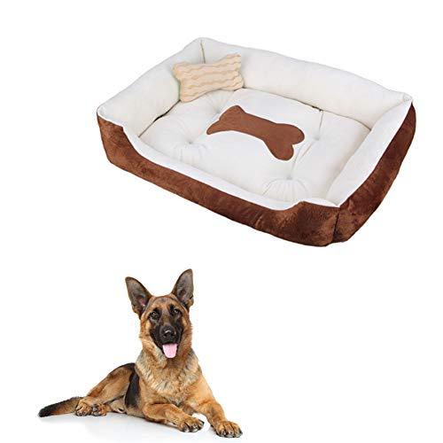 ppactvo Colchoneta Perro Cama para Gatos Cama para Perros De Hueso con Almohada Cama para Perros De Felpa Cama Lavable ExtraíBle para Perros Y Gatos Brown,XL