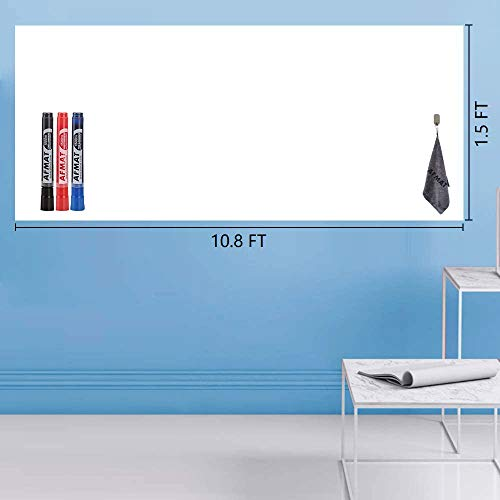 Whiteboard Sticker, Dry Erase Sheets, Whiteboard Paper, Peel and Stick White Board for Wall/Table/Door/Fridge, Office, School, Kids Painting, 1.5 x 10.8 ft, Super Sticky, Stain Proof, 3 Markers
