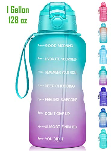 Giotto Large 1 Gallon/128oz Motivational Water Bottle with Time Marker & Straw,Leakproof Tritan BPA Free Water Jug,Ensure You Drink Enough Water Daily for Fitness,Gym and Outdoor-Green/Purple