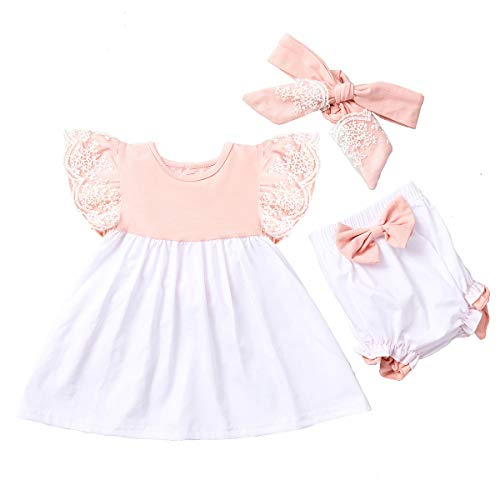Tianhaik Meisjes Outfits Zomer Baby Kant Ruches Mouw Swing Shirts Roze Wit Shorts met Hoofdband Leuke 3 STKS