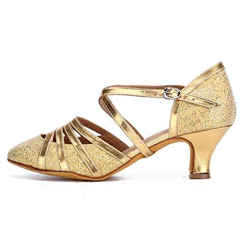 HROYL Damen Tanzschuhe/Latin Dance Schuhe Glattleder Ballsaal Modell-D5-512 Gold 39 EU - 2