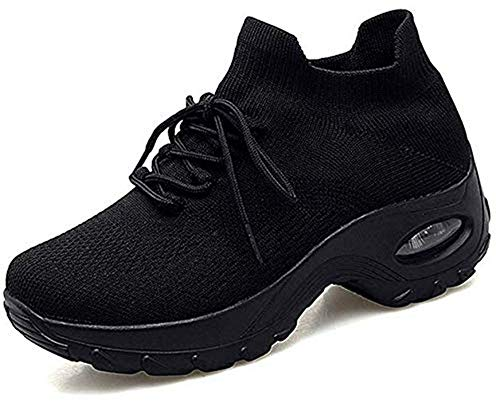 Zapatos Deporte Mujer Zapatillas Deportivas Correr Gimnasio Casual Zapatos para Caminar Mesh Running Transpirable Aumentar Más Altos Sneakers Negro36-42 (40 EU, Negro)