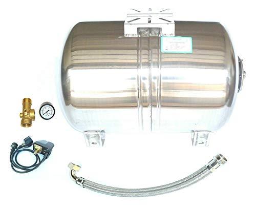 Set aus 100 Liter Edelstahl Druckkessel INOX, Membrankessel für Hauswasserwerk + Druckschalter + Manometer, 5 Wege Ventil u. Panzerschlauch 80cm. Max. Druck 10 bar.