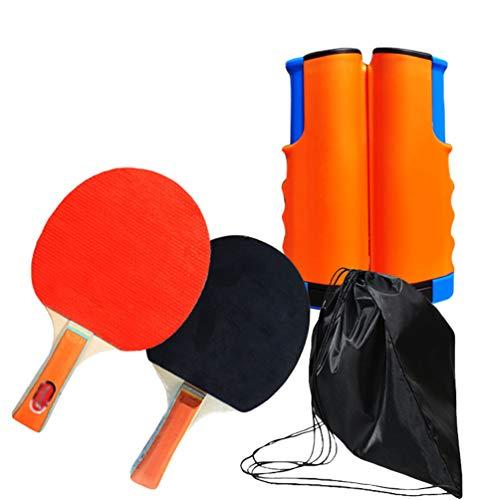 Kaiyei Red de Mesa Ping Pong con Paletas Malla de Tenis de Mesa Retráctil Reemplazo Portatil Interior Outdoor con Bolsillo Naranja + Azul