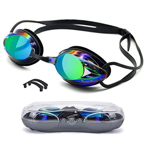 Aotlet Gafas de Natación,Gafas Natacion Anti-vaho Protección UV Sin Fugas para Adultos Hombres Mujeres Jóvenes,Gafas de Piscina con Estuche de Almacenamiento y 2 Puentes Nasales Intercambiables