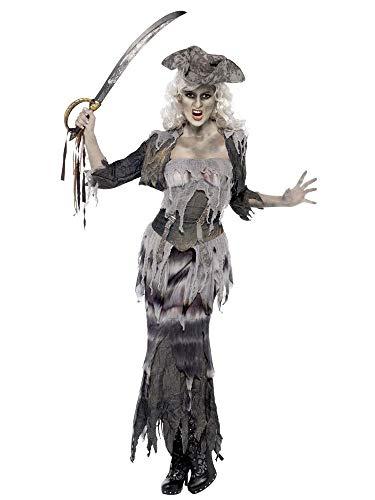 shoperama Disfraz de pirata zombie para mujer, con falda y sombrero, para novia pirata, fantasma, Halloween, talla M