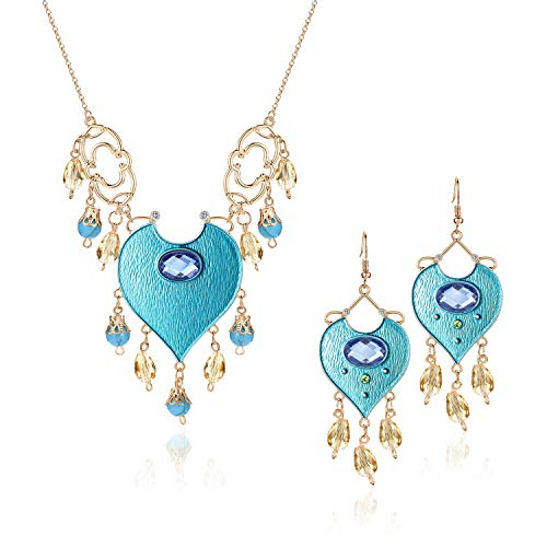 Vinjewelry Princess Jasmine Costumes Teal Necklace & Earrings Genie Magic Accessory Supplies for Adults
