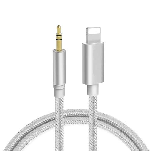 Aux Cable for iPhone Adapter to 3.5mm Aux Cable Car AUX Cable Adapter for iPhone 11 Pro/11/XS Max/XS/XR/X/8 Plus/8/7 Plus/7 to Car Stereo/Speaker/Headphone Adapter Support All iOS System - Silver