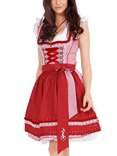 Krüger Damen Trachten Dirndl kurz, Modell: Rubinia, über Knie, Art.-Nr. 045005-0-0009, 38, rot