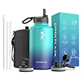 Coolflask Water Bottle 64 oz with Reusable Straw & Spout Lid, Vacuum Stainless Steel Wide Mouth Half Gallon Thermo Canteen Mug, BPA-Free Keep Cold for 48 Hrs or Hot for 24 Hrs, Pacific Prince
