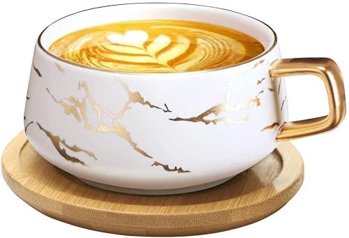 VETIN Cappuccino Tassen mit Unterteller, 300 ml Espressotassen aus Porzellan für Tee Kaffee Cappuccino, Kaffee-Tassen mit Holzscheibe - Weiß