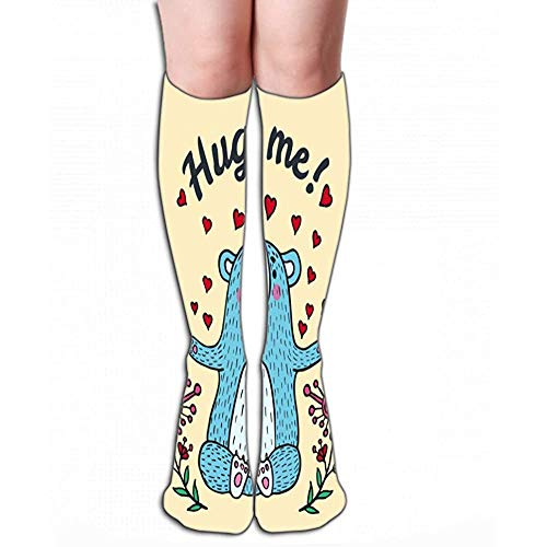 Mannen Vrouwen Outdoor Sport Hoge Sokken Stocking knuffel me kaart teddybeer geïllustreerd Leuke Tegel lengte 19.7