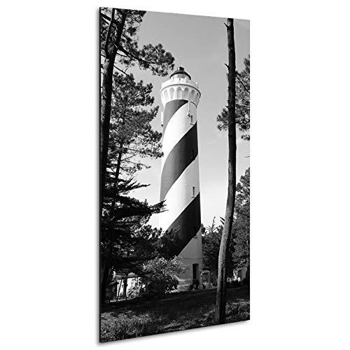 Vertikale Décoration Murale Tableau Alu Photo Phare de Contis Landes Noir et Blanc 120 x 60 cm