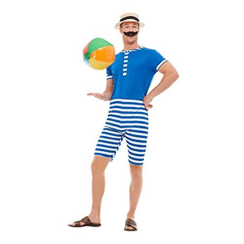 Amakando Witziger 20er Jahre Badeanzug für Herren / Blau-Weiß M (48/50) / Retro-Männerbadeanzug mit Streifen / EIN Highlight zu Fasching & Karneval
