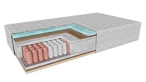 Colchón de bolsillo Bolonia Dureza: H4/H4 (duro/duro): Altura: 23 cm | De 80 x 200 hasta 200 x 200 cm | Visco-Latex coco, 7 zonas, muelles termoplásticos, espuma de coconut insert látex (140 x 200 cm)