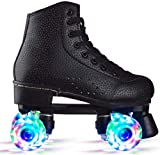 N/J Womens Roller Skates High-Top Leather Roller Skates with Four-Wheel Double Row PU Roller Skates for Teens,Girls,Adults (Black Light,7.5)
