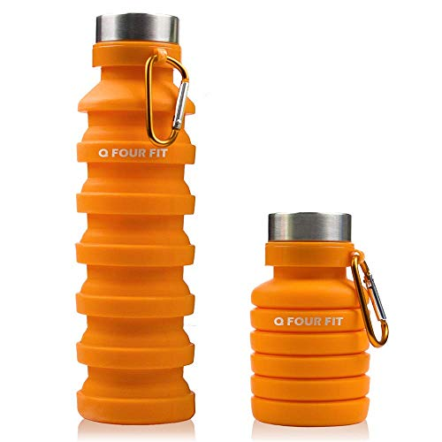 Q Four Fit Sports Collapsible Water Bottle 100% BPA Free Non-Toxic Platinum Silicone