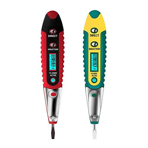 Kaimeilai 2 piezas probador de tensión, detector de voltaje sin contacto, bolígrafo probador de corriente, comprobador de voltaje 12-250 V, pantalla LCD, LED linterna de bolsillo, ave electromagnética