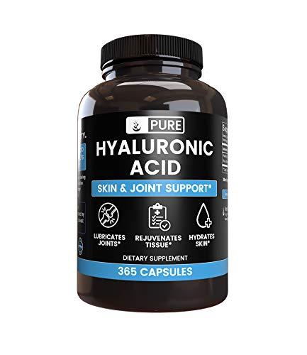 Natural Hyaluronic Acid, 1 Year Supply, 365 Capsules, No Magnesium or Rice Filler, Made in The USA, Lab Tested, Non-GMO, Gluten-Free, 325 mg Undiluted Hyaluronic Acid with No Additives