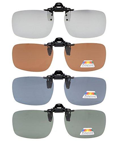 Eyekepper Aufklappbare Sonnenbrille Polarisierte 60x43 MM 4er Pack Metall Brille Clip