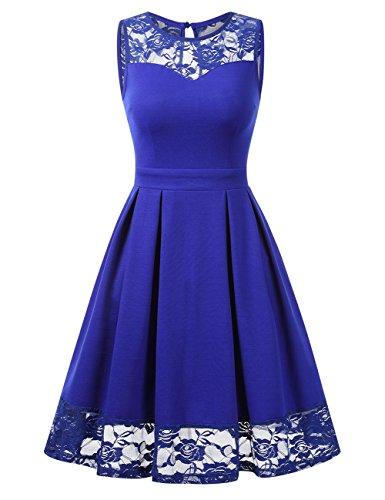 KOJOOIN Damen Elegant Kleider Spitzenkleid Ohne Arm Cocktailkleid Knielang Rockabilly Kleid Empire Blau M