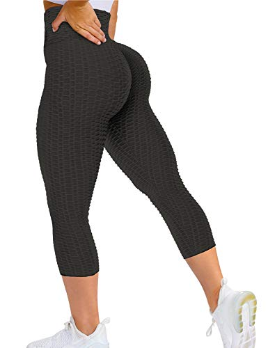 QOQ Womens High Waist Capris Yoga Pants Tummy Control Workout Ruched Butt Lift Leggings Anti Cellulite Textured Booty Tights Black L