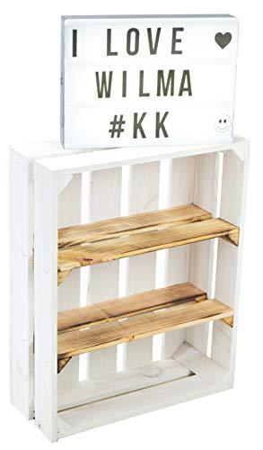 Caja de madera plana para pared de salón, 50 x 40 x 15 cm, estantería para especias, estante para el salón, pared separadora, aparador, caja de vino, estante colgante (1 juego de Wilma blanco veteado)