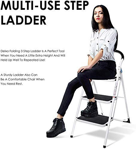 Delxo 3 Step Ladder Folding Step Stool 3 Step ladders with Handgrip Anti-Slip and Wide Pedal Sturdy Steel Ladder 330lbs White and Black Combo (3 feet) (3 Step Ladder)