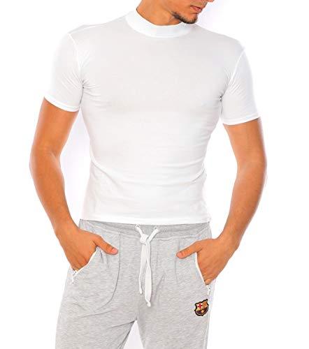 Bombacio Herren T-Shirt mit Stehkragen Shirt Figurbetont aus Baumwolle (Weiß, XL - 52)
