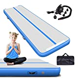 Air Gymnastics Track Tumbling Mat Inflatable 10ft 13ft 16ft 20ft Flooring Mat Yoga Training Mat 4 Inch Thickness for Home Use/Training/Cheerleading/Yoga/Water Fun (Blue, 3m)