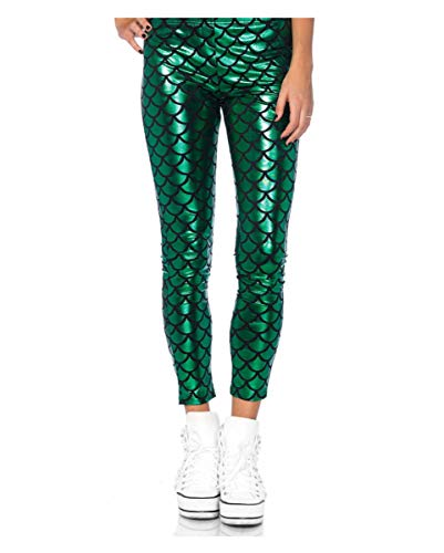 Horror-Shop Grüne Mermaid Leggings als Kostümhose für Karneval & Motto Party S