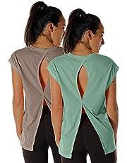 icyzone Camiseta de Fitness de Manga Corta de Espalda Abierta para Mujer, Pack de 2