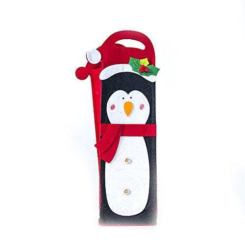 Haodou - Funda de fieltro para botella de vino o champán, diseño de pingüino