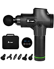 Massage Gun, A-TION Deep Tissue Muscle Electric Massager, Powerful Percussion Massager Handheld, 30 Speed Levels, 6 Heads, Super Quiet Theragun for Gym Post-Workout Home with Portable Case, for Gift